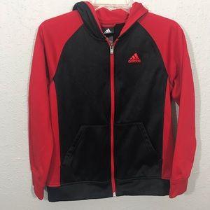 Adidas Unisex 3-Stripe Red & Black Full Zip Jacket